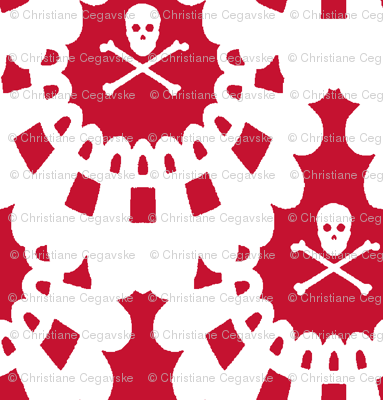 White Skull and Crossbones Lace White on red