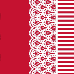 White Skull and Crossbones Lace Border and Red and White 1/2 inch Stripe