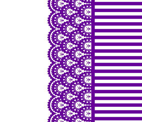 Purple Skull and Crossbones Lace Border with Purple and White 1/2 inch stripe fabric by littlemisscrow on Spoonflower - custom fabric