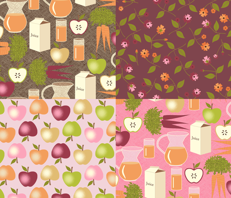 Sweet Apples and Carrot Juice  - Pink coordinates fabric by inscribed_here on Spoonflower - custom fabric