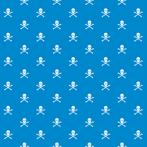 Skull and Crossbones on 0088cc fabric by littlemisscrow on Spoonflower - custom fabric