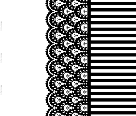 Black Skull and Crossbones Lace Border and Black and White 1/2 inch Stripe fabric by littlemisscrow on Spoonflower - custom fabric