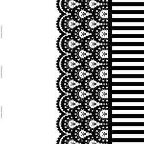 Black Skull and Crossbones Lace Border and Black and White 1/2 inch Stripe