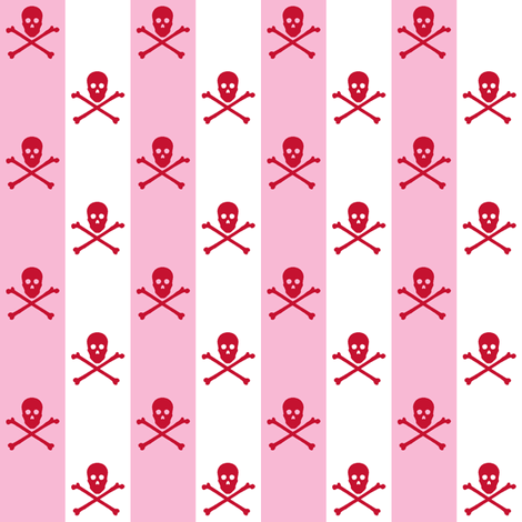 red skull and crossbones on one inch stripe - pink and white  fabric by littlemisscrow on Spoonflower - custom fabric