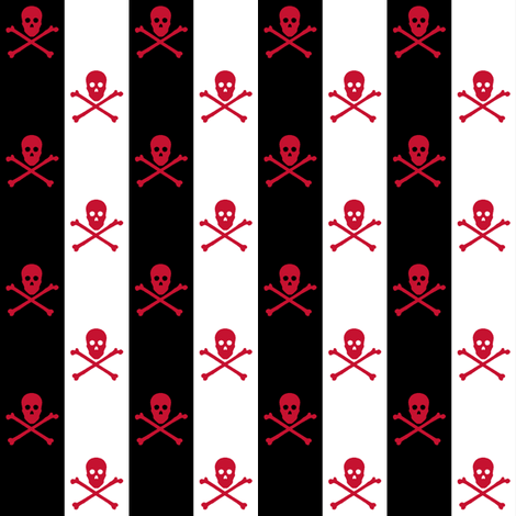 red skull and crossbones on black and white stripe fabric by littlemisscrow on Spoonflower - custom fabric