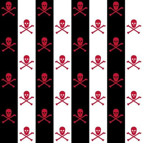 red skull and crossbones on black and white stripe