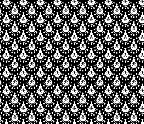 Skull and Crossbones Lace Black on White fabric by littlemisscrow on Spoonflower - custom fabric