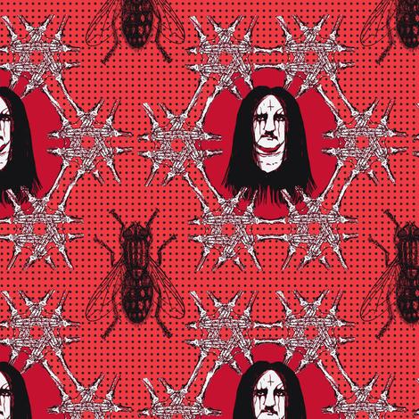 Edgar Allen Black Metal Poe black on red fabric by susiprint on Spoonflower - custom fabric
