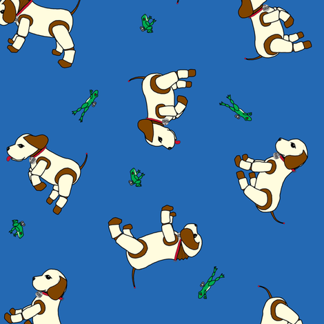 robo_puppy_and_the_mechanical_frog_ditsy_blue_150 fabric by victorialasher on Spoonflower - custom fabric