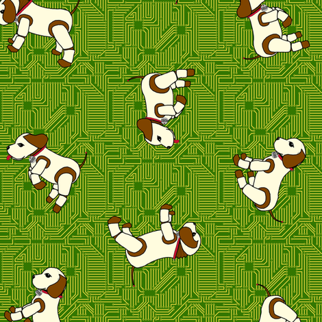 robo_puppy_ditsy_on_curcuit_board_150 fabric by victorialasher on Spoonflower - custom fabric