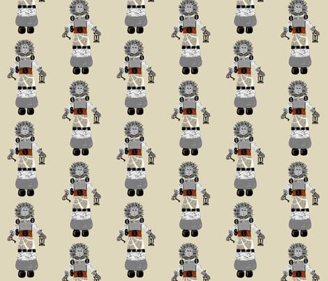 Eloise Robot on Cream fabric by karenharveycox on Spoonflower - custom fabric