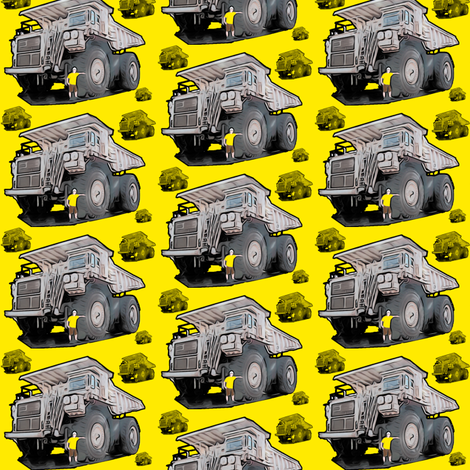 Yellow Monster Truck fabric by upcyclepatch on Spoonflower - custom fabric