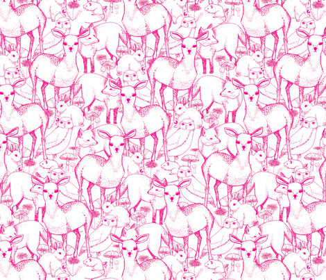 Woodland (Pink) fabric by lydia_meiying on Spoonflower - custom fabric