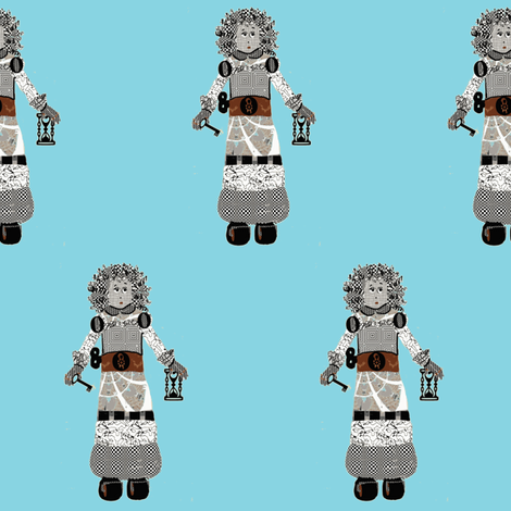 Eloise Robot on Aqua fabric by karenharveycox on Spoonflower - custom fabric