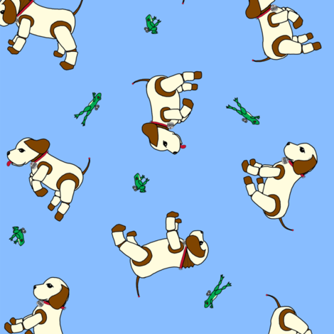 robo_puppy_and_the_mechanical_frog_ditsy_light_blue_150_copy fabric by victorialasher on Spoonflower - custom fabric