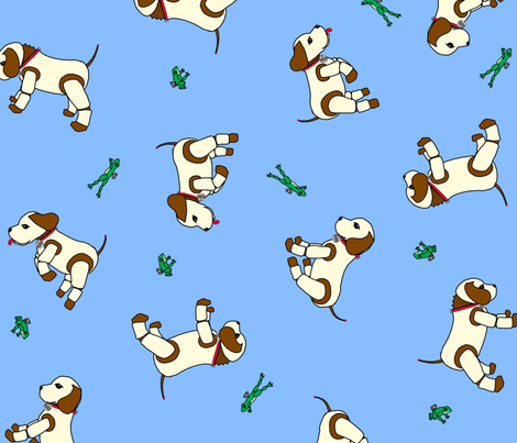 robo_puppy_and_the_mechanical_frog_light_blue fabric by victorialasher on Spoonflower - custom fabric