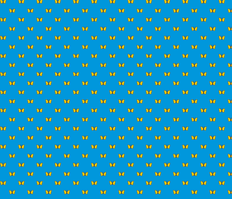Yellow Butterflies on Blue  fabric by stitchwerxdesigns on Spoonflower - custom fabric