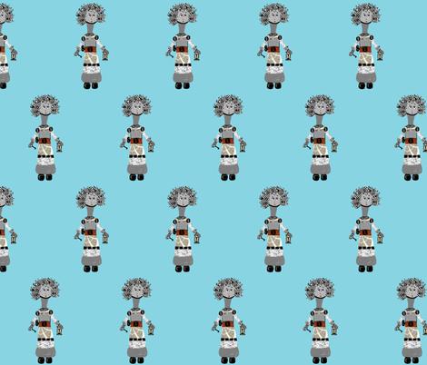 Eloise Robot Super Robot power fabric by karenharveycox on Spoonflower - custom fabric