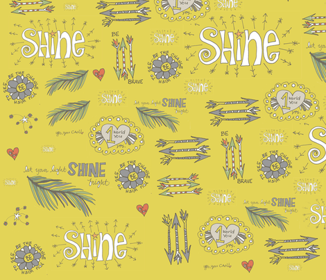 shine bravely doodles fabric by aubreyplays on Spoonflower - custom fabric
