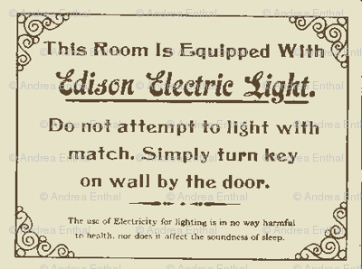 Newfangled Edison Electric Light 1890 Hotel Sign