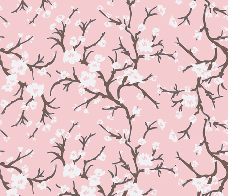 Almond Branch Pink fabric by janelle_wooten on Spoonflower - custom fabric