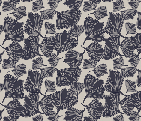 Tulip Seeds Evening Blue fabric by leeandallandesign on Spoonflower - custom fabric