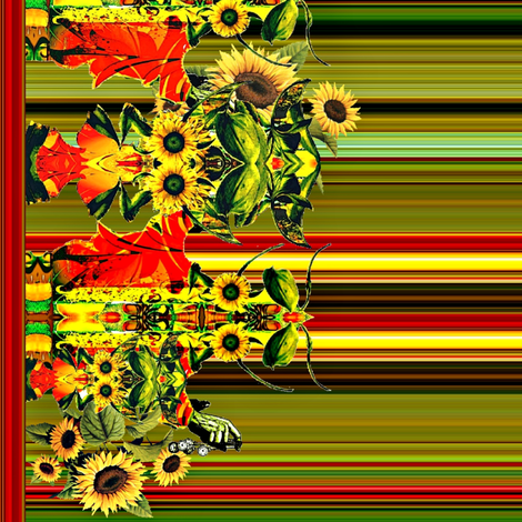 Sunflower Family Border fabric by whimzwhirled on Spoonflower - custom fabric