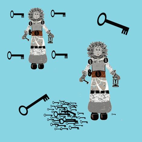 Eloise Robot and her many keys fabric by karenharveycox on Spoonflower - custom fabric