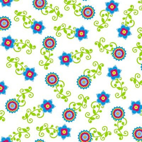 Ditsy flower pattern on white