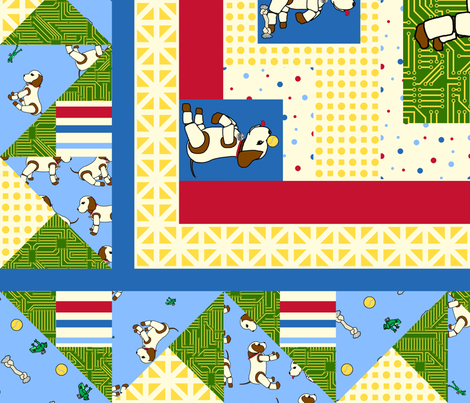 Robo Puppy cheater quilt fabric by victorialasher on Spoonflower - custom fabric
