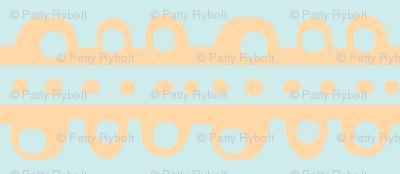 Bumpy Stripe (pale tangerine & light sky blue)