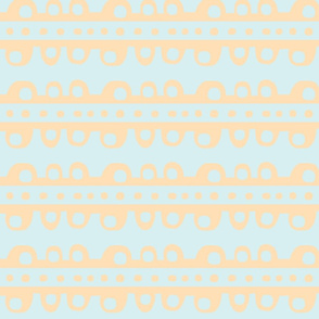 Bumpy Stripe (pale tangerine & light sky blue)