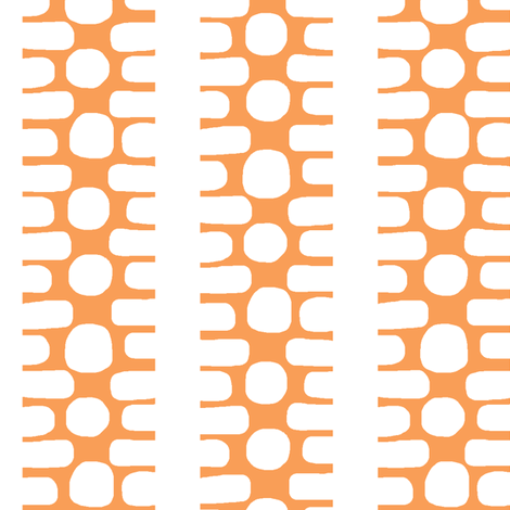 Bumpy Dotty Stripe (tangerine & white) fabric by pattyryboltdesigns on Spoonflower - custom fabric