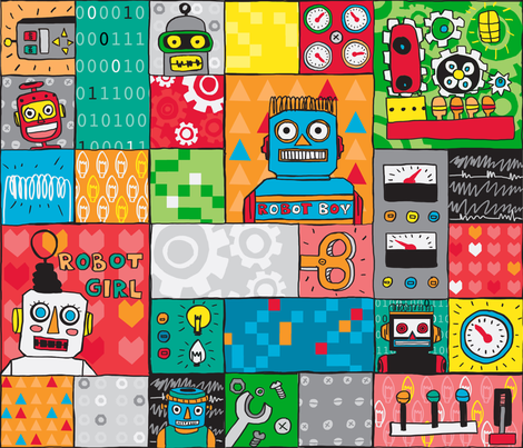 Robot friends - Cheater quilt fabric by made_in_shina on Spoonflower - custom fabric