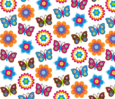 Flowers & butterflies on white background fabric by stitchwerxdesigns on Spoonflower - custom fabric