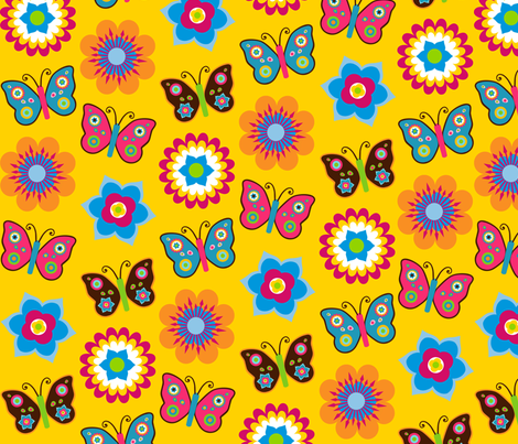 Flowers & butterflies on yellow fabric by stitchwerxdesigns on Spoonflower - custom fabric