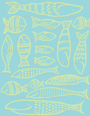 Funky Fish (aqua & lime)