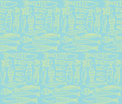 Funky Fish (aqua & lime) fabric by pattyryboltdesigns on Spoonflower - custom fabric