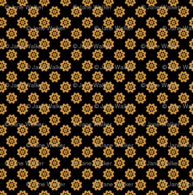 Small Scale Gears or Flowers -- brass on black version ©21011 by Jane Walker