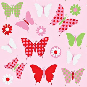 butterfly fly light pink background