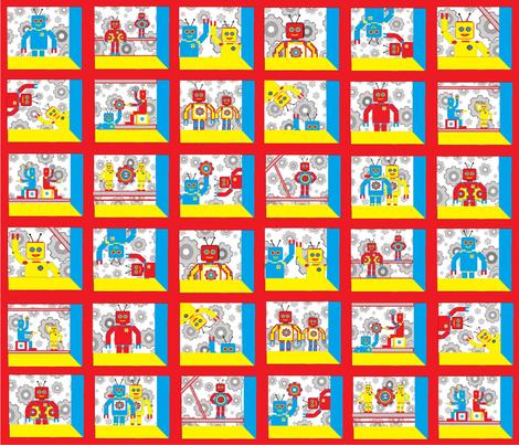 Attic Window Robot Cheater Quilt fabric by joofalltrades on Spoonflower - custom fabric