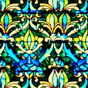 Stained Glass Print - Fleur de Lys - peacock & sunflower yellow