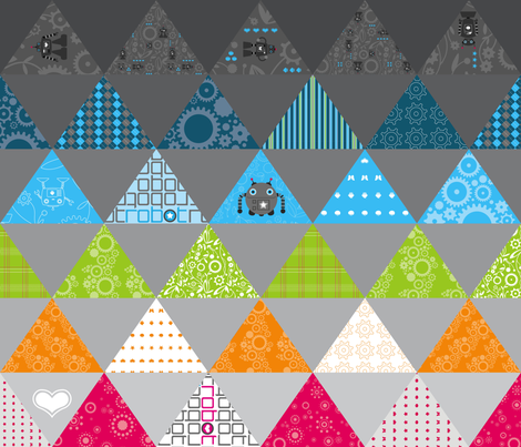 Robot Gear Garden Cheater Quilt fabric by jackieatweelife on Spoonflower - custom fabric