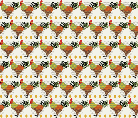 Rooster Parade / Cream fabric by hoodiecrescent&stars on Spoonflower - custom fabric