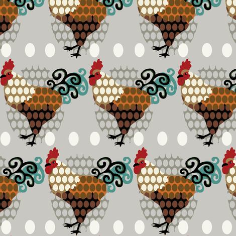 Rooster Parade / vintage fabric by hoodiecrescent&stars on Spoonflower - custom fabric
