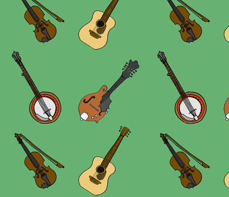 Green Musical Instruments fabric by illustratedbyjenny on Spoonflower - custom fabric