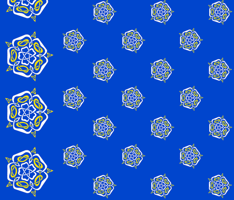 tudor celtic rose small white and gold on blue fabric by ingridthecrafty on Spoonflower - custom fabric