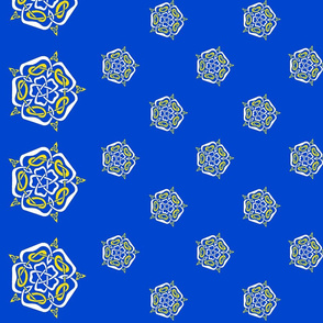 tudor celtic rose small white and gold on blue