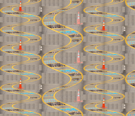 The ladders have a new wiggle fabric by upcyclepatch on Spoonflower - custom fabric