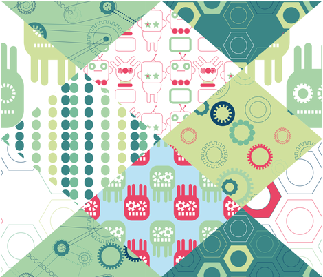 Robots and parts fabric by loki_and_lamb on Spoonflower - custom fabric